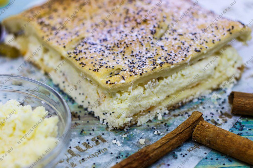 Пирог из сдобного теста с творогом